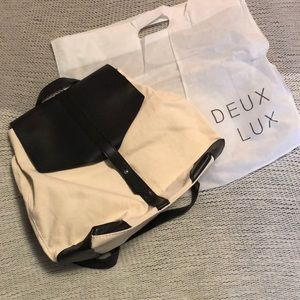 NWT DEUX LUX Vegan leather and canvas backpack